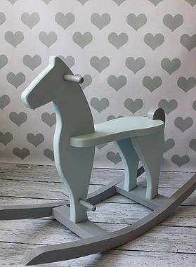 DREWNIANY, miętowy koń na szarych biegunach, POLSKI HANDMADE