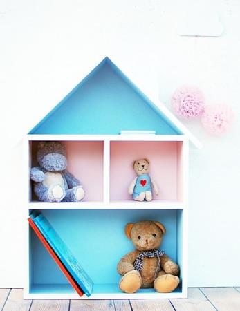 Domek dla lalek regał XXL szaro różowy