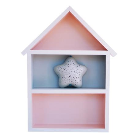Dziecięca półeczka duży domek, Szaro - Różowy