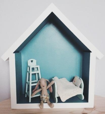 Dziecięca półeczka mały domek, Turkusowy