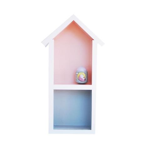 Dziecięca półeczka średni domek, Róż z szarym