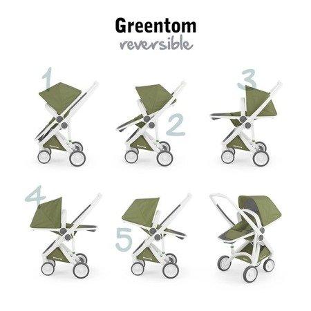 Greentom 2w1 CARRYCOT + REVERSIBLE Wózek eko biało-granatowy