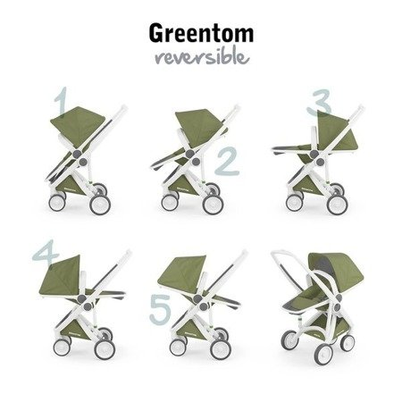 Greentom REVERSIBLE Wózek spacerowy eko szaro-czarny
