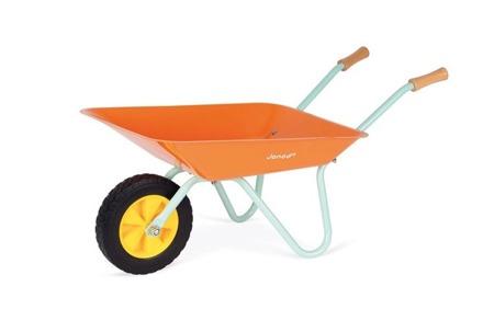 Janod Mały ogrodnik Zestaw narzędzi ogrodowych z pomarańczową taczką