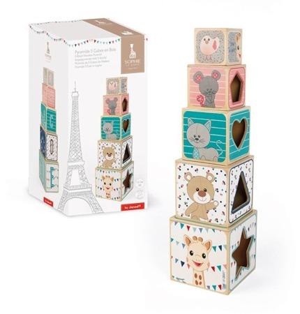 Janod Piramida wieża drewniana Żyrafka Sophie