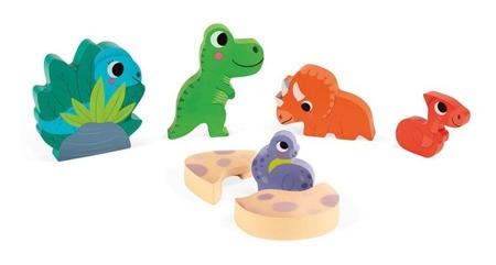 Janod Układanka drewniana 3D Zabawa w chowanego Dinozaury