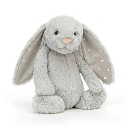 Jellycat Przytulanka króliczek szary z uszami w gwiazdki 18cm