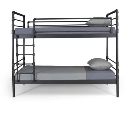 Łóżko industrialne dziecięce 90/200 piętrowe czarne
