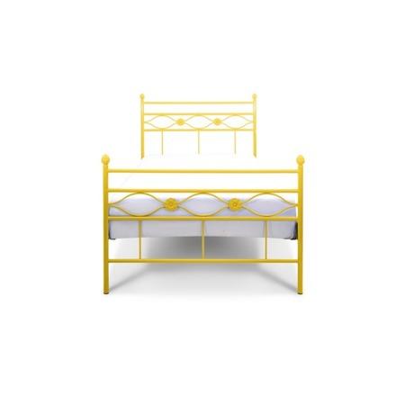 Łóżko metalowe młodzieżowe Floris 120/200 żółte
