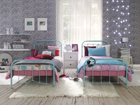Łóżko metalowe młodzieżowe Babunia 120/200 niebieskie