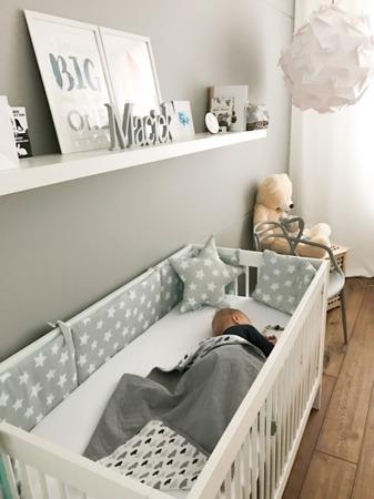 Ochraniacz do łóżeczka Mint&Grey Stars