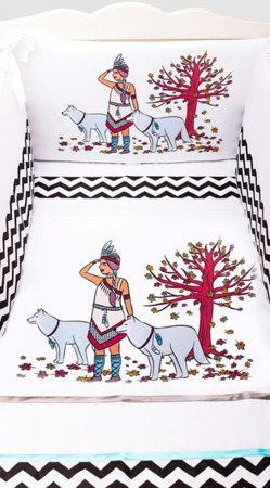 Ochraniacz na połowę łóżeczka, Indianka 30x210cm