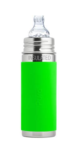 PURA KIKI Termobutelka z ustnikiem niekapkiem 6m+ i zieloną osłonką