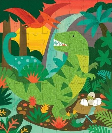 Petit Collage Puzzle w skarbonce Dinozaury