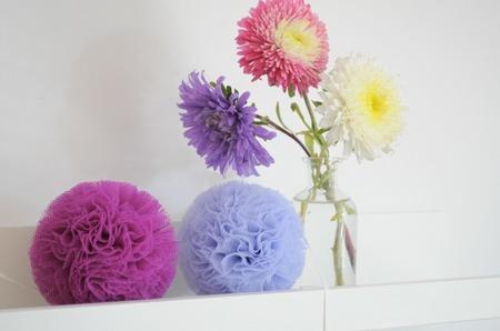 Pompon tiulowy Fioletowy 20 cm, handmade