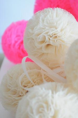 Pompon tiulowy Malinowy Róż 10 cm, handmade