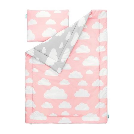 Pościel dziecięca 100 x 135cm Chmurki Pink&Grey