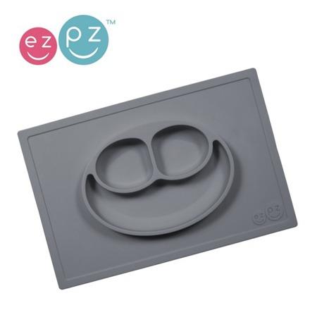 Silikonowy talerzyk z podkładką EZPZ 2 w 1 Happy Mat, szary mat