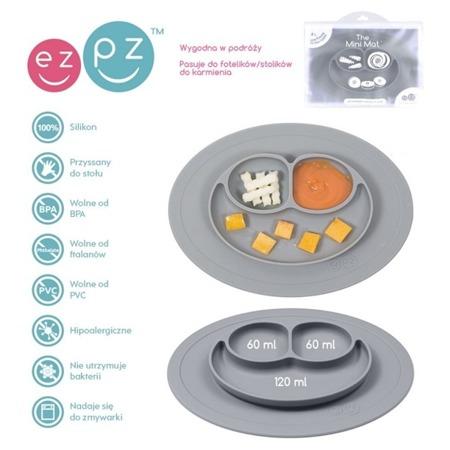 Silikonowy talerzyk z podkładką mały EZPZ 2 w 1 Mini Mat, szary mat