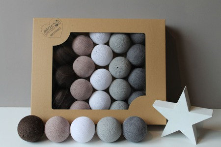 Świecące kule COTTON BALL zestaw Chestnut 10 sztuk