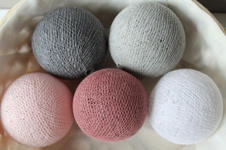 Świecące kule COTTON BALL zestaw Dusty Pink 20 sztuk