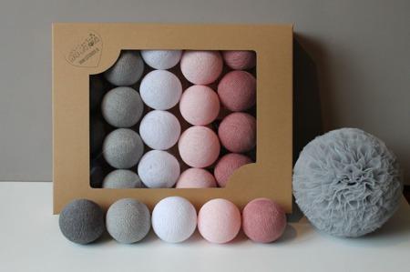 Świecące kule COTTON BALL zestaw Dusty Pink 50 sztuk