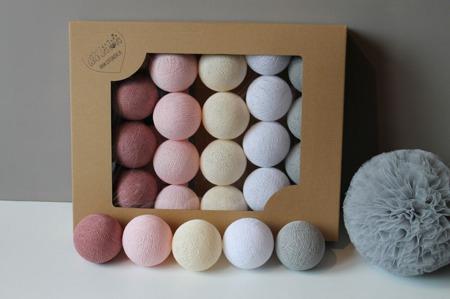 Świecące kule COTTON BALL zestaw Pink Dream 20 sztuk