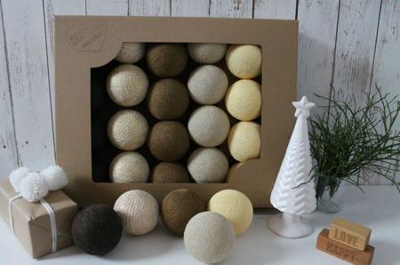 Świecące kule COTTON BALLS  XMAS BROWN, 20 sztuk