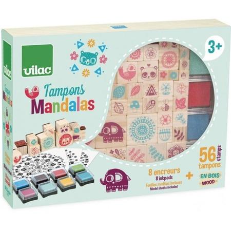 Vilac Drewniane stempelki dla dzieci Mandala 64 sztuki